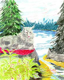 Wolf by Lake