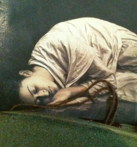 Sweet Rest.  Photo by E.Strazar of a photo by Gregory Colbert (Ashes and Snow exhibit)